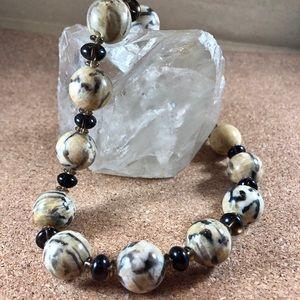 Handmade Feldspar & Smoky quartz necklace OOAK